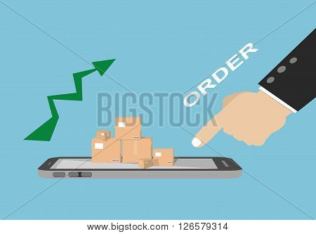 human hand pointing finger to order products package boxes from a smartphone screen