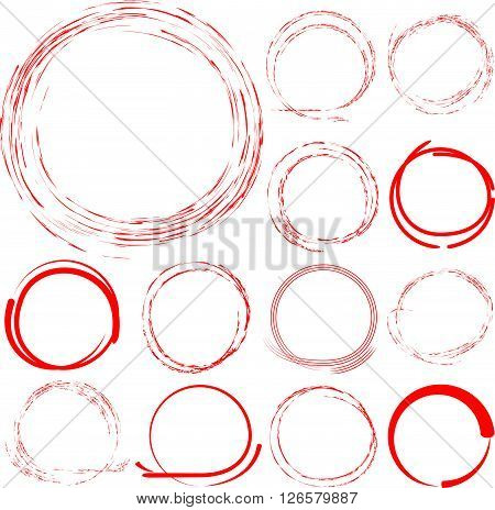 collection of red hand drawn and grunge highlighter circles in white background