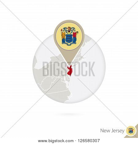 New Jersey Us State Map And Flag In Circle. Map Of New Jersey, New Jersey Flag Pin. Map Of New Jerse