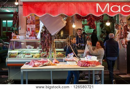 CATANIA ITALY - MARCH 31: View of open market on March 31 2016