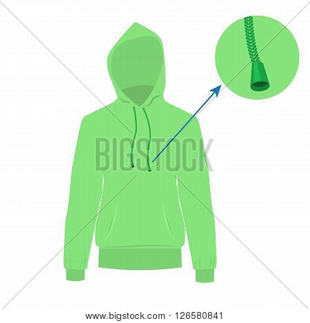 Hooded sweater. Vector Hoodie with solid and flat color design. Light green Sweater for fashion concept infographic.
