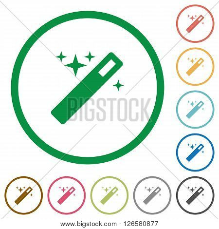 Set of magic wand color round outlined flat icons on white background