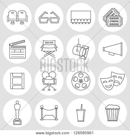 Cinema outline icons. Production film and watch movie in the cinema icons collection