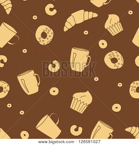 Vector bakery seamless pattern on brown background.