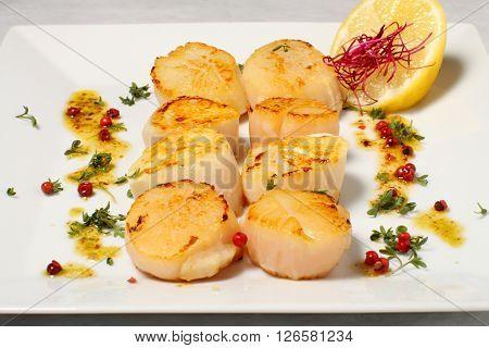 Eight clams with single fresh lemon and herbs