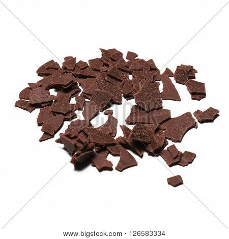 Chocolate pieces used for ornamentation of cakes