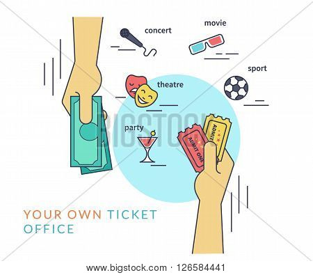 Buying tickets. Flat line contour illustration of human hand purchasing two tickets by cash and other hand gives the tickets