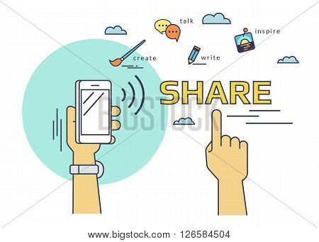 Flat line contour illustration of human hand holds a smartphone and  sharing data and mobile apps via nfc function. Illustration on red background