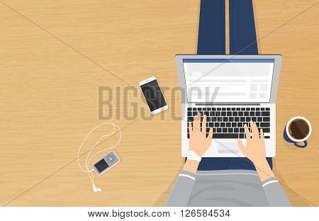Woman sitting on the wooden textured floor and working with laptop in social networks. Realistic illistration top view of people relaxing at home using laptop and typing