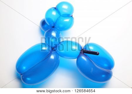 Isolated translucent blue toy balloon dog on white paper