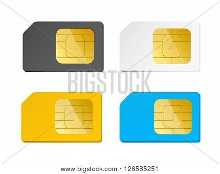 four sim cards black white blue yellow vector illustration