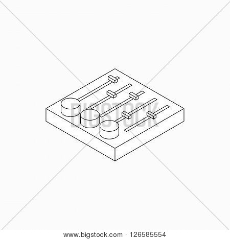 Sound mixer console icon in isometric 3d style isolated on white background