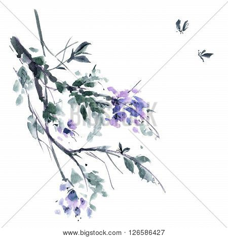 Watercolor and ink illustration of blossom tree. Gohua sumi-e u-sin painting.