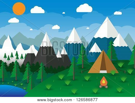 Summer Campsite with a campfire, Lake, Forest, Mountains, Sky, clouds, sun. travel and vacation concept. vector illustration in flat design