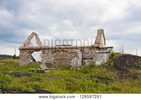 Old Destroyed House On The Outskirts Of Village