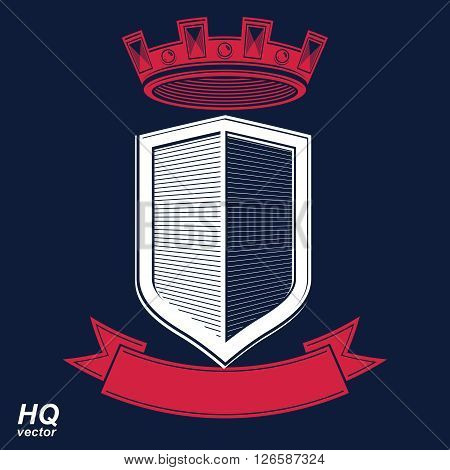 Empire design element. Heraldic royal coronet illustration - imperial striped decorative coat of arms. Luxury vector shield with king red crown and undulate festive ribbon.