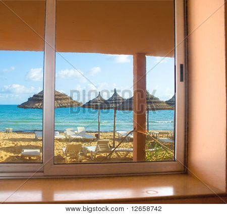 Hotel room with view on a beach