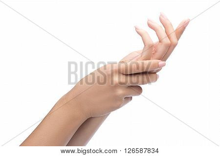 Acute Pain In A Woman Palm, A Woman Massaging Her Painful Hand Isolated On A White With Clipping Pat
