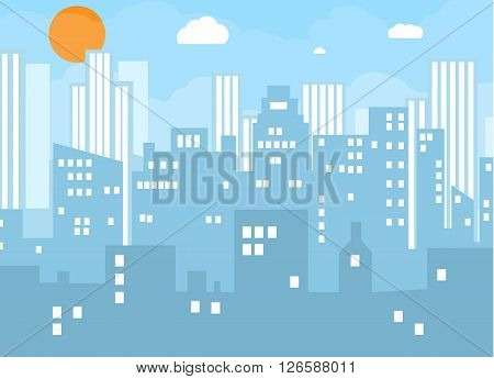 Day city skyline. Buildings silhouette with windows cityscape with clouds. Big city streets. Blue sky with white clouds. Vector illustration
