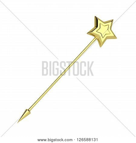 3d illustration of golden magic wand isolated on white background