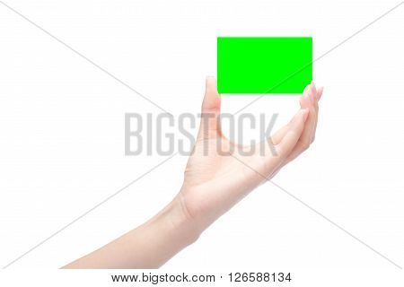 Hands Hold Business Card In Green Chroma Key,isolated Clipping Path