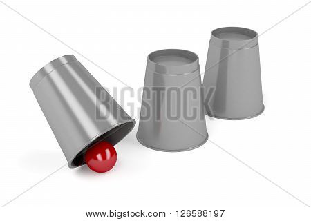 3d illustration of magic trick with three cups and a ball