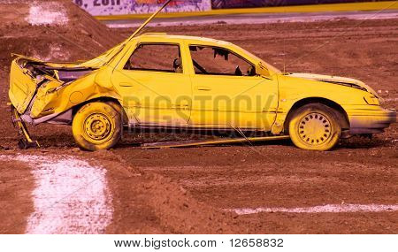 Yellow Crashed Car