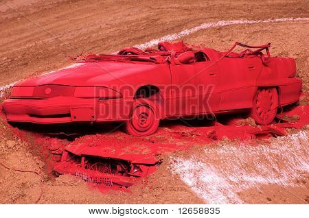 RED CRASHED CAR