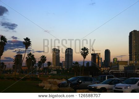 View of the Tel Aviv Israel. Twilight. Cloudy Sky.