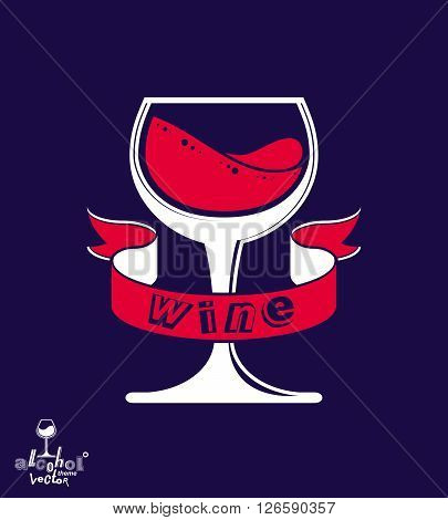 Stylized classic vector goblet with splash and red creative ribbon