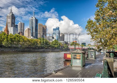 Looking across the Yarra River to Melbourne from Southbank