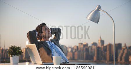 Businessmen Working Rooftop Break Relax Concept