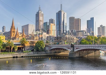 Melbourne central business district on the Yarra River from Southbank