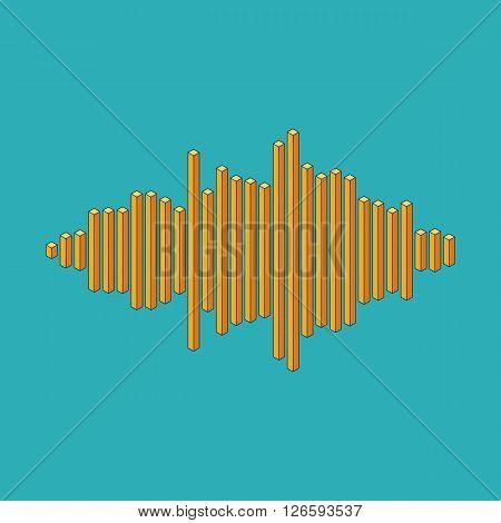 Flat isometric music wave made of peak lines