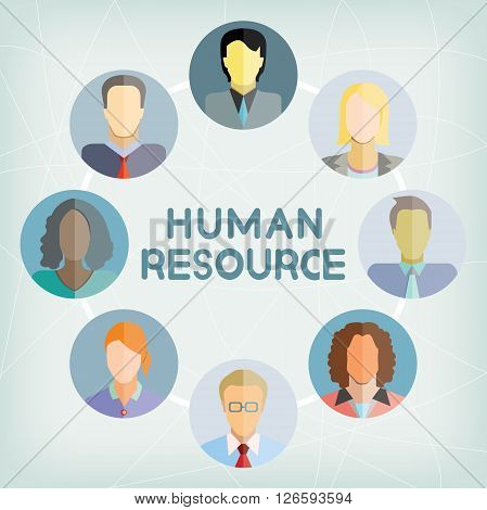 human resource and business people group in blue background