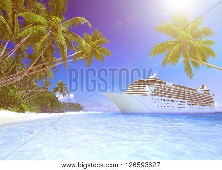 Cruise ship at a tropical beach.