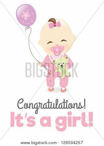 Illustration of a baby girl holding teddy bear