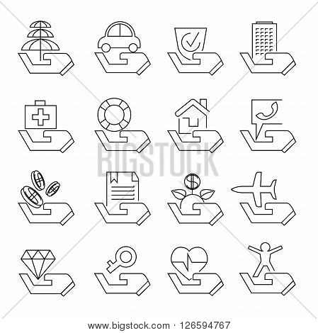 collection of 16 insurance icons outline theme