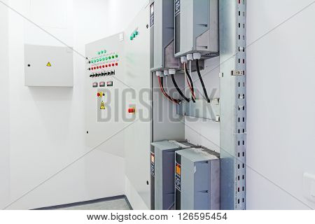 Electrical cabinet with connectors is providing electrical energy to residential place.