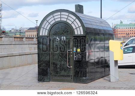 Street toilet in Stockholm, Sweden