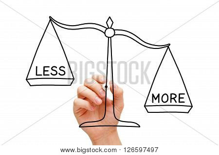 Hand drawing More or Less scale concept with black marker on transparent wipe board isolated on white