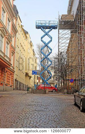 Construction lift in Helsinki, Finland
