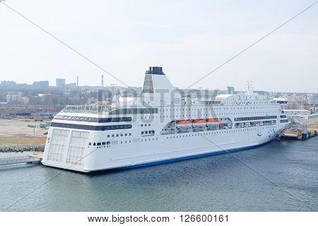 Cruise ship in Tallin harbour, Estonia