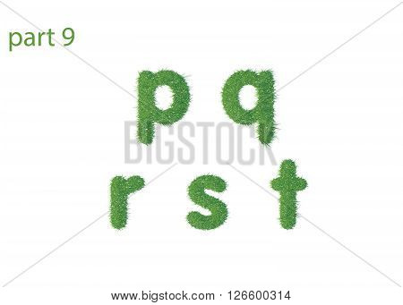 Small letter p q r s t texture green grass vector illustration
