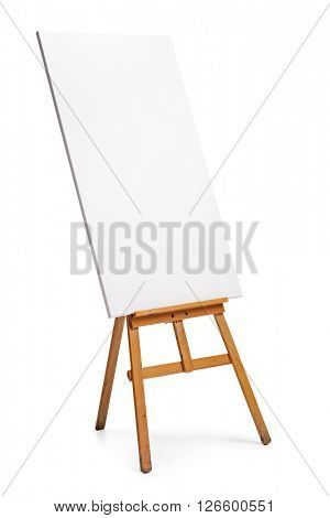 Vertical shot of a blank canvas on an easel isolated on white background