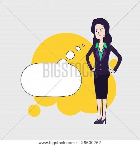 Elegant business woman vector cartoon character with cartoon empty bubble. Brunette business woman is thinking angrily about something. Disappointed woman wearing business clothing. Linear flat design.