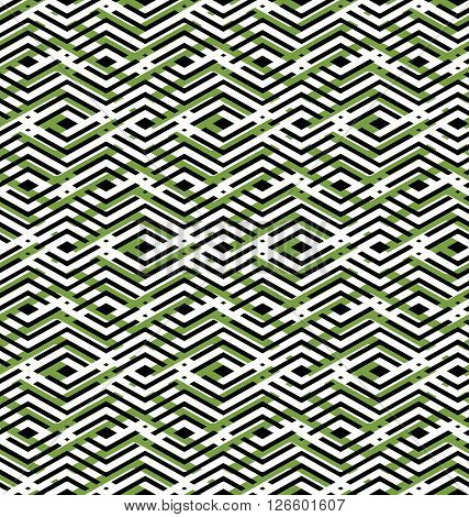 Green abstract seamless pattern with interweave lines. Vector overlay with geometric figures. Endless decorative background.