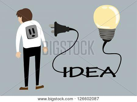 business man with light idea bulb plug socket. creative idea concept flat vector