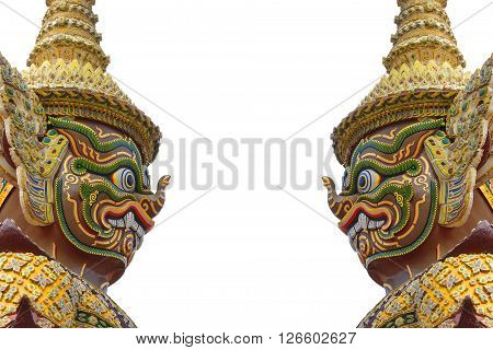 the side of face of Ramayana in the Buddha temple at BangkokThailand with the white background