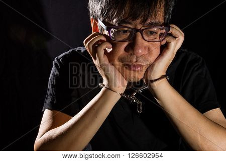 Asian Chinese Man With Handcuffs